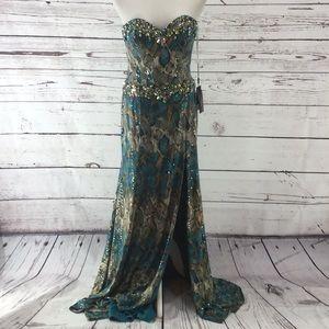 Beaded Snake Skin Print Prom Dress